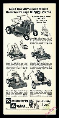 1957 Vintage Print Ad~Wizard~Lawn Mower Products~Western Auto~J600