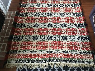 Antique Pennsylvania Jacquard Coverlet Birds  J. Lutz Hempfield 1847