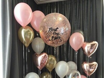 Rose Gold Balloon Confetti wedding bride engaged heart birthday party blush pink