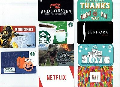 Collectible Gift Card - YOU CHOOSE 3 for $1.59 - No Value - Starbucks, Jurassic