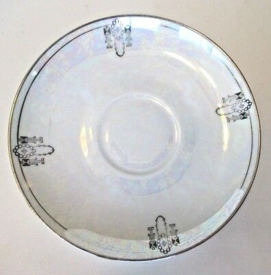 Herman Ohme Art Deco Iridescent Saucer Plate Germany Silver Rim