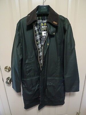 Barbour- A200 Border Waxed Cotton Jacket-With Pin-Sage-Made In England -Size 36