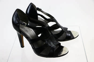 "Tahari ""Shasta"" Black Leather Open Toe Caged Platform Pump 9.5M"