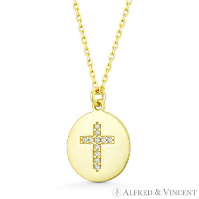 Round Disc & Cross CZ Crystal Charm Pendant Solid .925 Sterling Silver Necklace