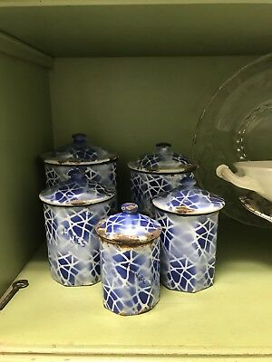 Vintage/Antique French Enamel Blue and White Canister Set