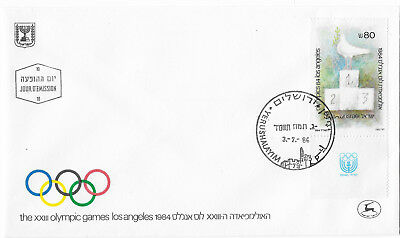 Israel 1984 Los Angeles Olympic Games FDC cover dove