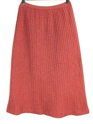 Vintage 1990s Rusty Salmon Pink Wool Blend Knit Skirt M-L