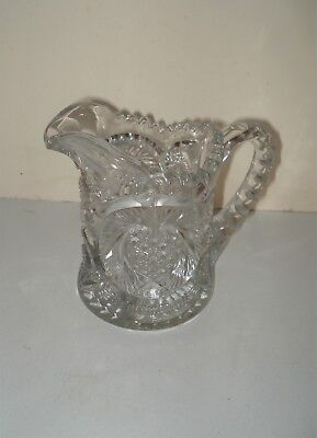 Vintage Iverna Style Pattern Clear Cut Glass Eapg Creamer Small Pitcher