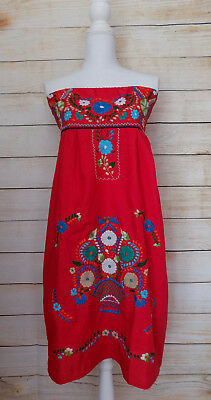 Women's Strapless Mexican Dress Red Floral Embroidery Medium Handmade Peasant