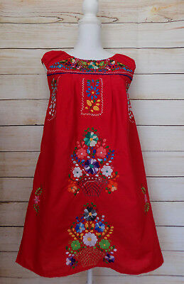 Women's Embroidered Mexican Dress Handmade Red Floral Peasant Sundress Wedding