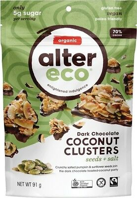 ALTER ECO Dark Chocolate Coconut Clusters Seeds + Salt 91g