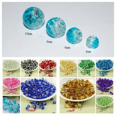 Wholesale 4/6/8/10mm Crystal Glass Crack Loose Round Spacer Beads DIY Findings