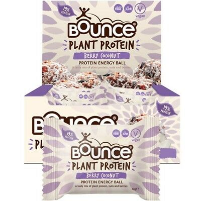 BOUNCE Energy Balls - Plant Protein Berry Coconut (Box Of 12) 12x40g
