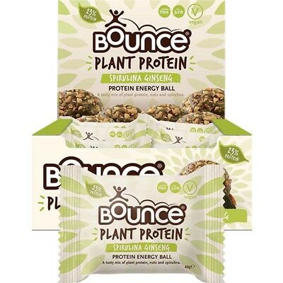 BOUNCE Energy Balls - Plant Protein Spirulina Ginseng (Box Of 12) 12x40g