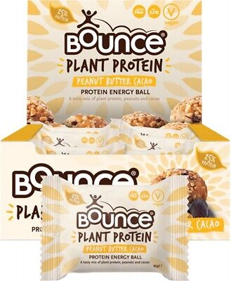 BOUNCE Energy Balls - Plant Protein Peanut Butter Cacao (Box Of 12) 12x40g