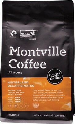 MONTVILLE COFFEE Decaf Coffee Ground (Plunger) Hinterland Blend 250g