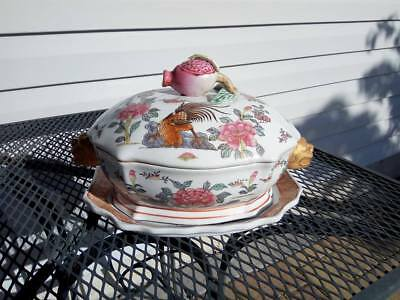 Chinese Export Porcelain Tureen Rooster Famille Rose Asian Oriental Decorative