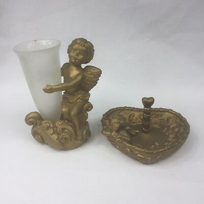 Gold Cherub Angel Resin Jewellery Ring Holder & Vase Set For Vanity Dresser GUC