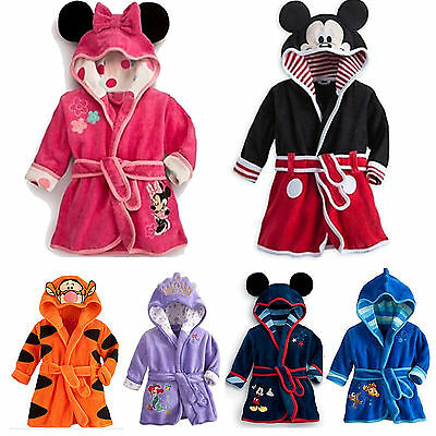 Baby Kid Boy Girl Warm Hooded Bath Robe Cartoon Nightwear Sleepwear Pj's Gown