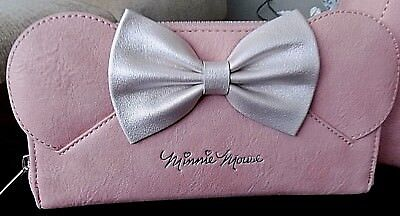 Disney/loungefly Pink Simulated Leather Minnie Mouse W/ears & Bow Wallet
