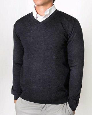 Mens Merino Wool Blend V Neck Sweater Jumper Machine Washable Fast Ship Charcoal