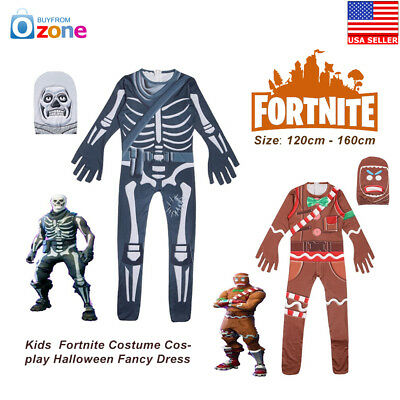 Kids Boys Fortnite Costume Cosplay Halloween Fancy Dress Party Jumpsuit Outfits
