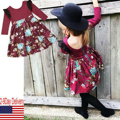 USA Princess Kids Baby Girls Dress Floral Striped Dresses Party Casual Dresses