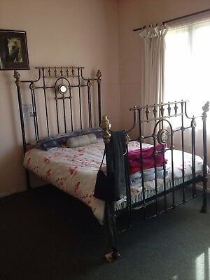 Antique Cast Iron & Brass Double Bed