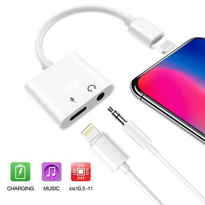 For iPhone X Xs MAX 8 7 Plus IOS 11 12 Aux Audio Charge Adapter Cable Dongle
