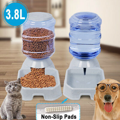 3.8L Pet Dog Cat Food & Water Feeder Dispenser Puppy Automatic Self Feeding Bowl