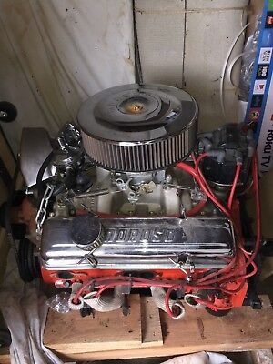 CHEVY ENGINE SMALL block 350 motor 5 7 L bench tested at 550 HP Edelbrock  carb