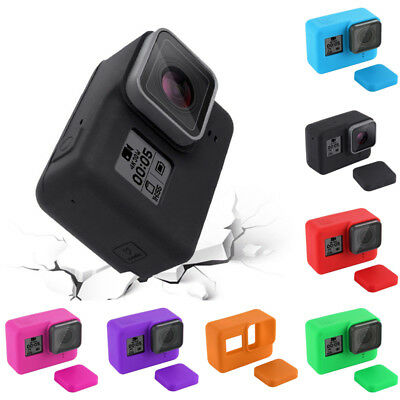 Silicone Protective Housing Case + Lens Cap Cover For GoPro HERO 6/5 Camera Accs