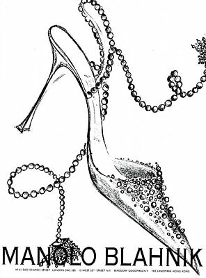 other clothing shoe ads clothing shoes accessories Tiger Woods Advertisements 1992 manolo blahnik shoes sandals mules art illustration magazine ad
