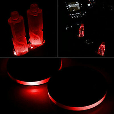 2Pcs Solar Cup Pad Car Accessories LED Light Cover Lights Interior Decor GYTH