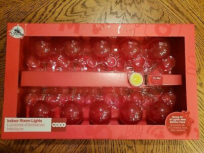 Disney Store Mickey Mouse String of 10 Indoor Lights with Battery Pack NIB