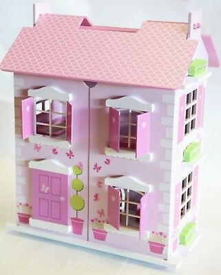Wooden Pink Doll House with 10pcs Furniture and Dolls