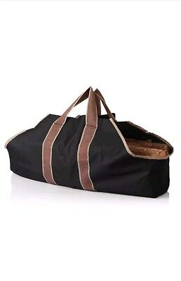 Canvas Fireplace Firewood Fire Wood Log Tote Carrier Bag Caddy Holder Portable