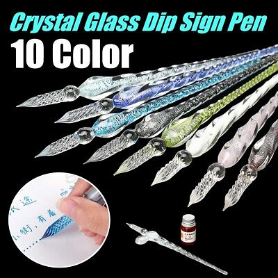 Vintage Crystal Glass Dip Ink Fountain Pen Signature Writing Box Holder Decor