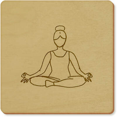 6 x 'Lotus Yoga Pose' 95mm Square Wooden Coasters (CR00032756)