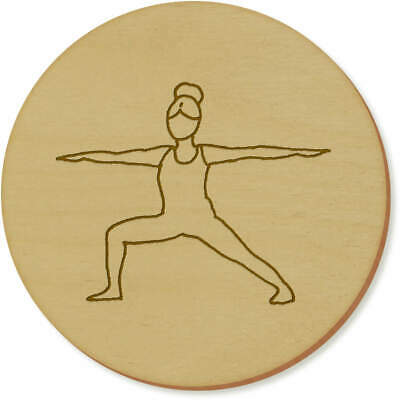 6 x 'Warrior Yoga Pose' 95mm Round Wooden Coasters (CR00032761)
