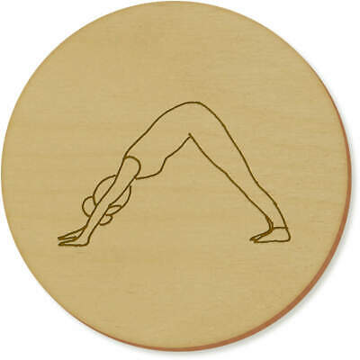 6 x 'Downward Facing Dog Yoga Pose' 95mm Round Wooden Coasters (CR00032752)