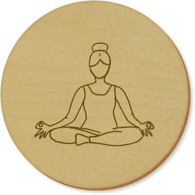 6 x 'Lotus Yoga Pose' 95mm Round Wooden Coasters (CR00032755)