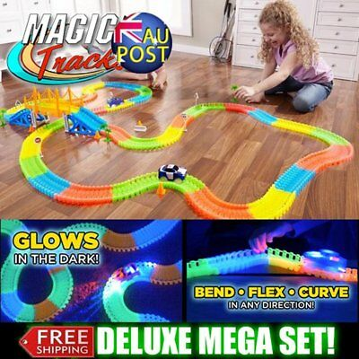LED Magic Tracks 165 Pieces Of Tracks Glow In The Dark Race Car Bend Flex Gift