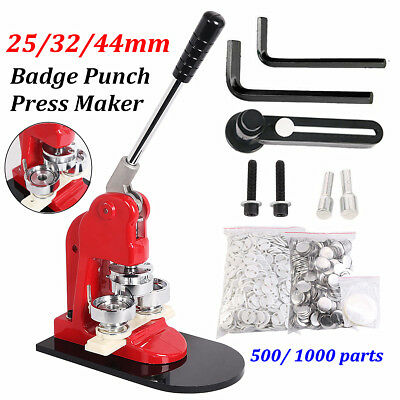 New 25/32/44mm Button Maker Machine Punch Press Circle Cutter + 500/1000 Buttons