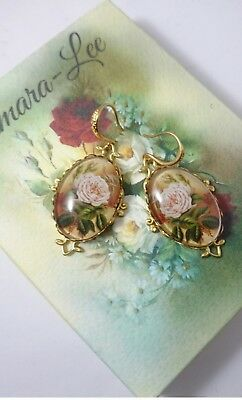 Artisan Art Deco Edwardian Earrings Pink Roses Victorian  Antique Style