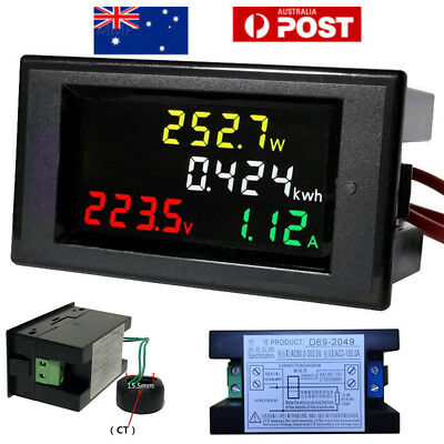 LCD Digital Voltmeter AC 80-300V 100A CT Ammeter Volt Amp Power Kwh Panel Meter