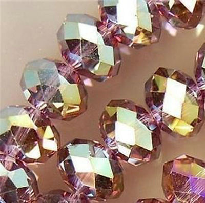 Wholesale  4*6mm 100pc Faceted Purple Crystal Loose Beads  DIY jewelry