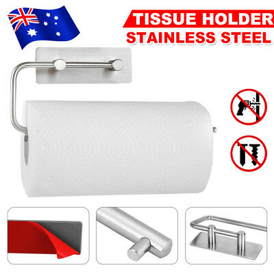 Adhesive 304 Stainless Steel Kitchen Paper Holder Roll Towel Tissue Rack Stand