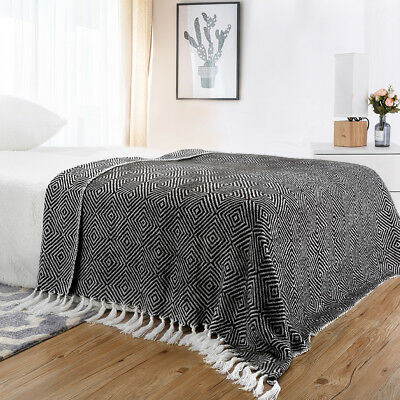 "Geometric Pattern Knitted Tasseled Fringe Acrylic Throw Blanket 50"" x 60"" Black"