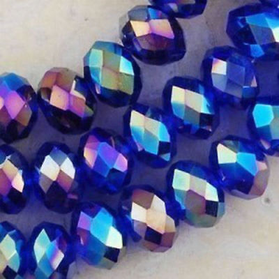 Wholesale 6*8mm 70pc Blue AB Crystal Loose Beads  DIY jewelry